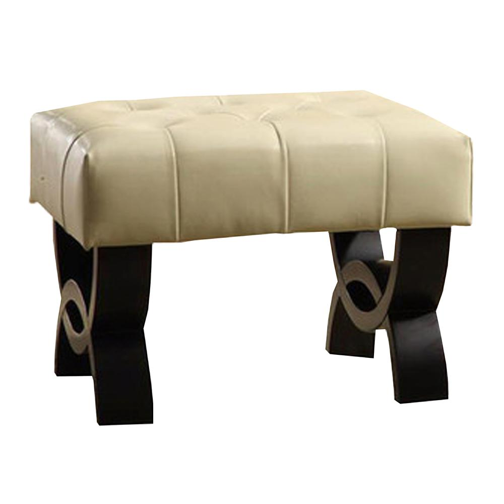"""Park 24"""" Tufted Cream Bonded Leather Ottoman. Picture 1"""