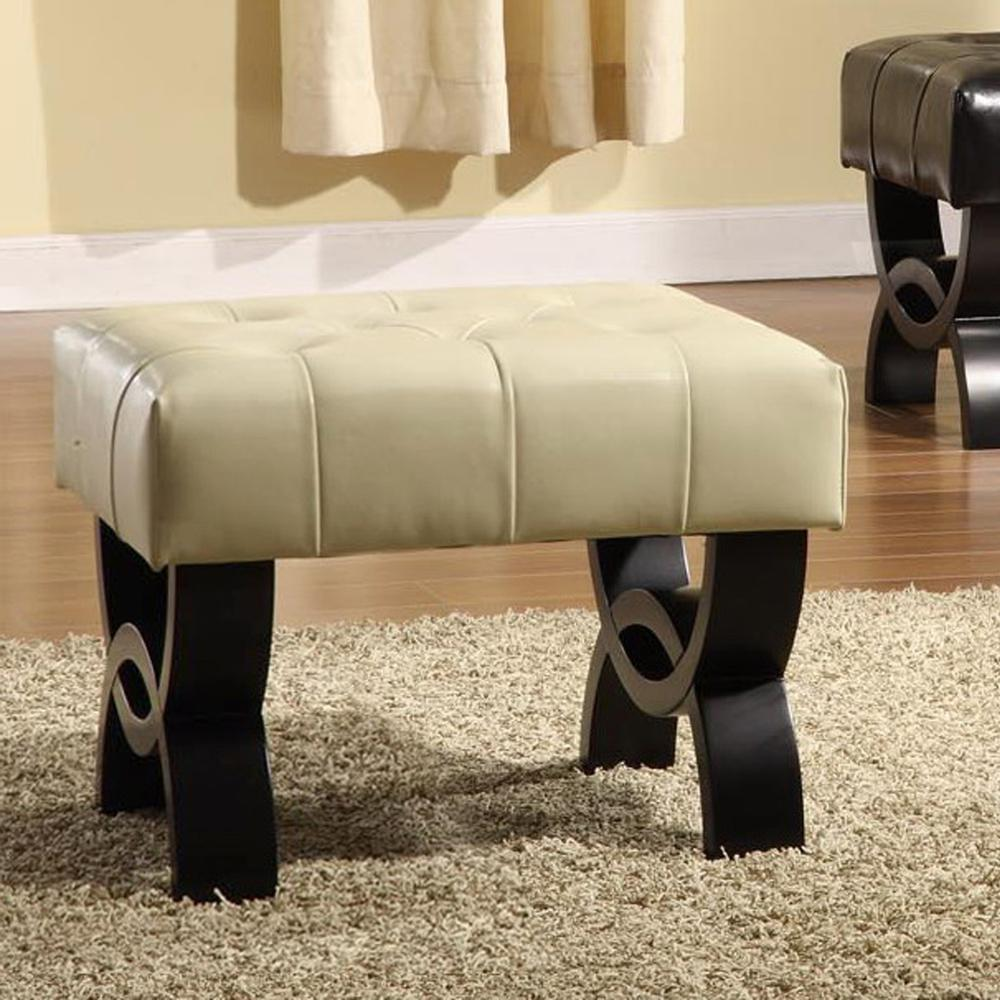 """Park 24"""" Tufted Cream Bonded Leather Ottoman. Picture 2"""