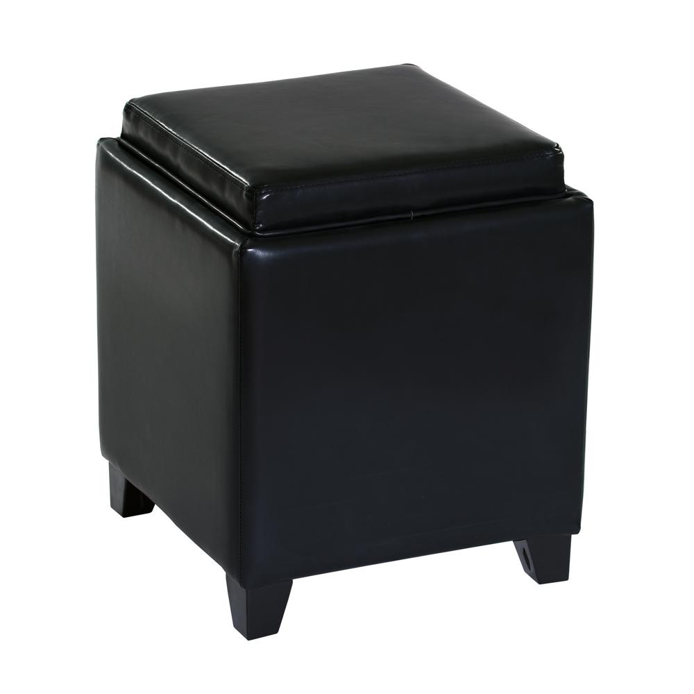Rainbow Contemporary Storage Ottoman With Tray in Black Bonded Leather. Picture 1