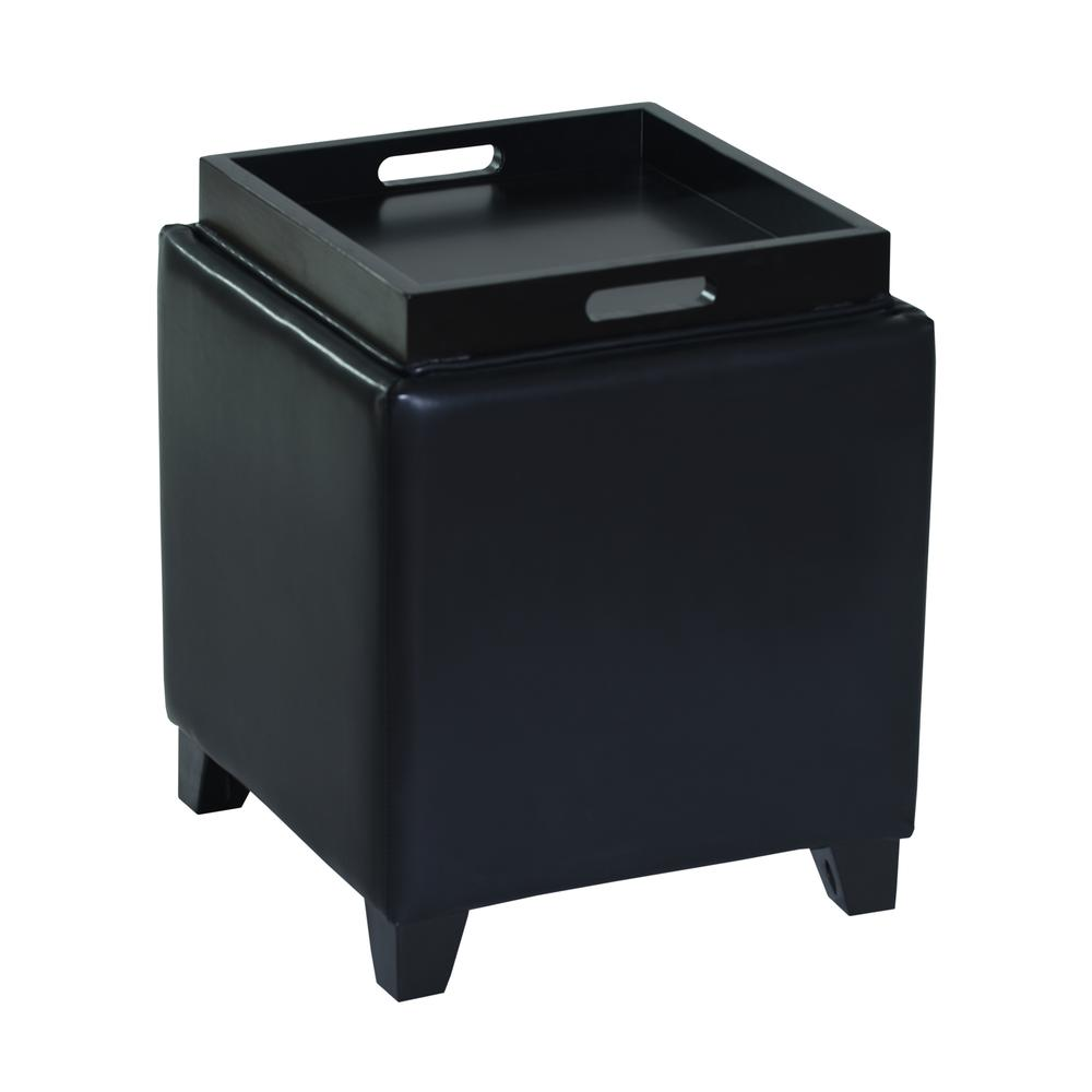 Rainbow Contemporary Storage Ottoman With Tray in Black Bonded Leather. Picture 2