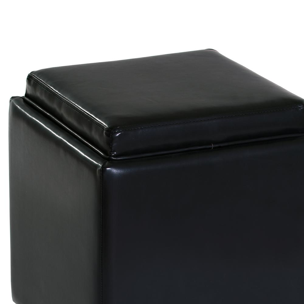 Rainbow Contemporary Storage Ottoman With Tray in Black Bonded Leather. Picture 3