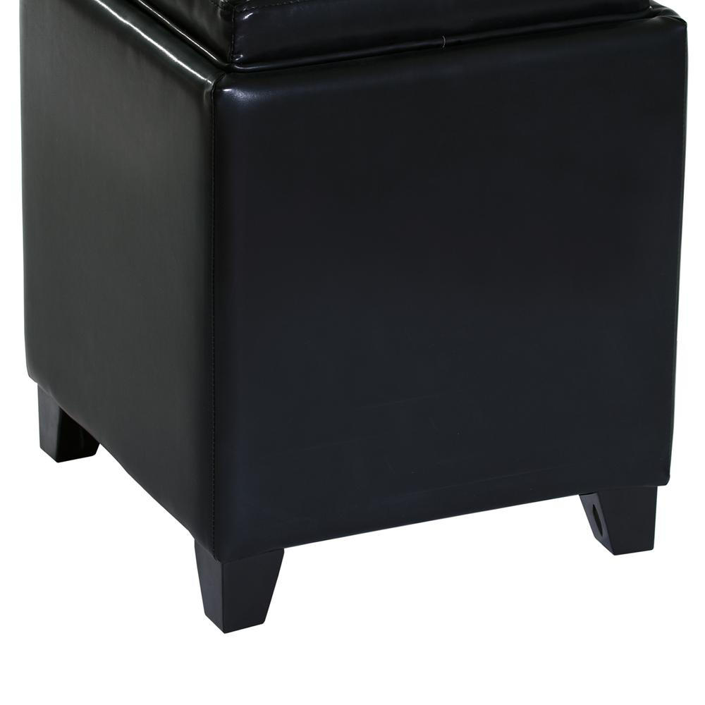 Rainbow Contemporary Storage Ottoman With Tray in Black Bonded Leather. Picture 4