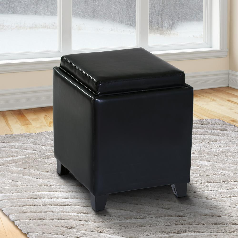 Rainbow Contemporary Storage Ottoman With Tray in Black Bonded Leather. Picture 5