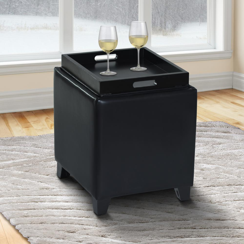 Rainbow Contemporary Storage Ottoman With Tray in Black Bonded Leather. Picture 6