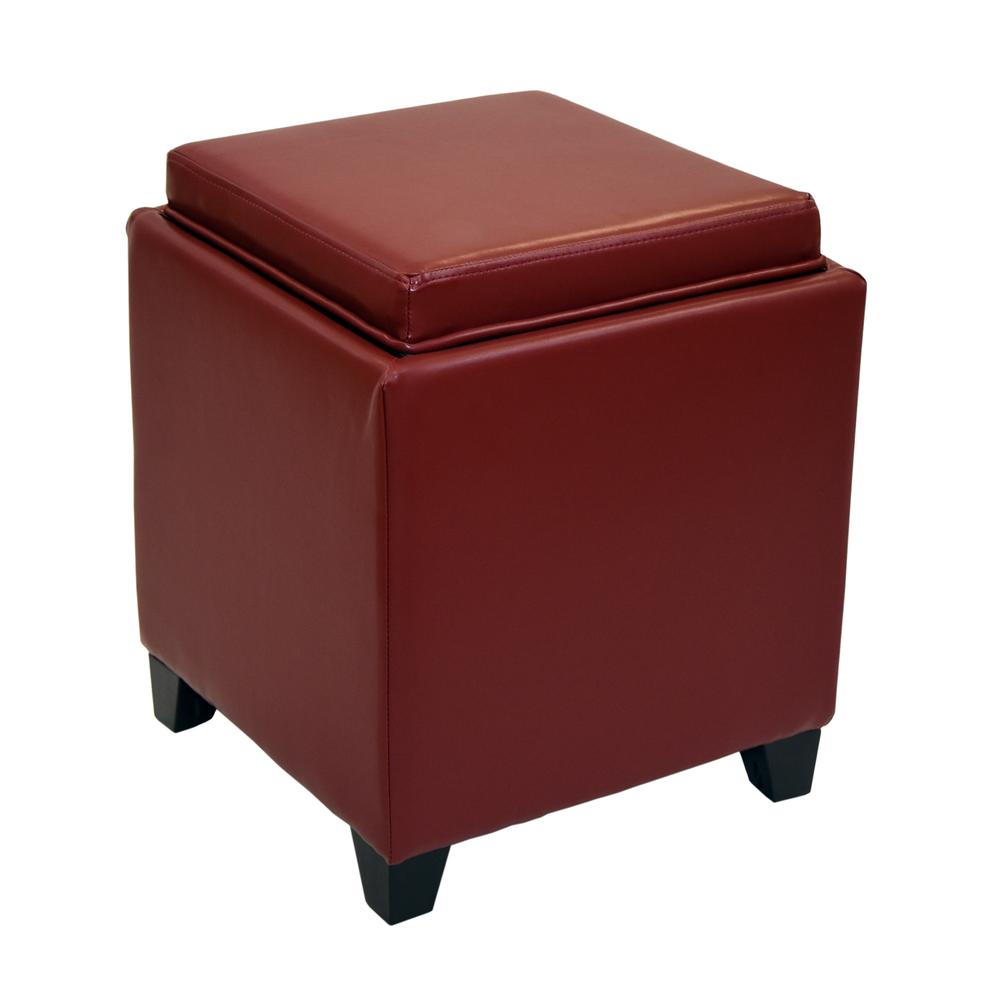 Amazing Rainbow Contemporary Storage Ottoman With Tray In Red Bonded Leather Alphanode Cool Chair Designs And Ideas Alphanodeonline