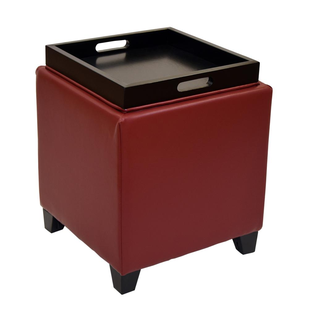Armen Living Rainbow Contemporary Storage Ottoman With Tray in Red Bonded Leather. Picture 2