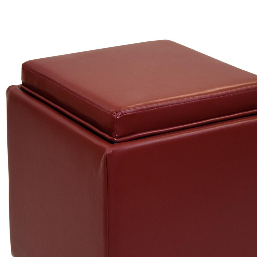 Armen Living Rainbow Contemporary Storage Ottoman With Tray in Red Bonded Leather. Picture 3