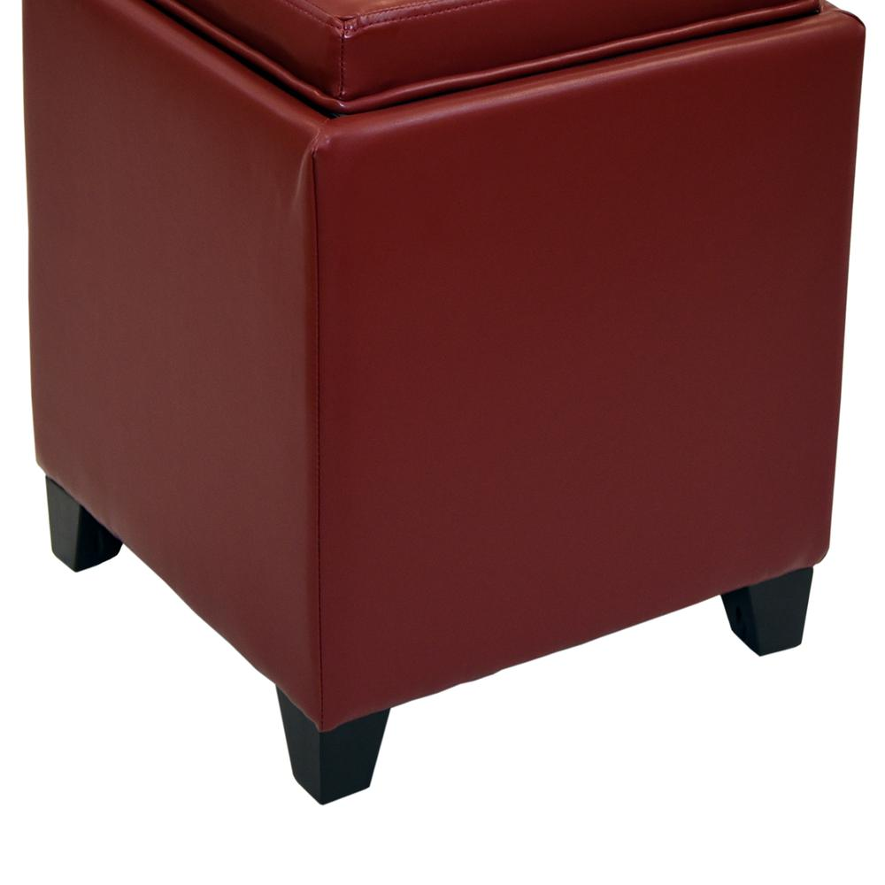 Armen Living Rainbow Contemporary Storage Ottoman With Tray in Red Bonded Leather. Picture 4