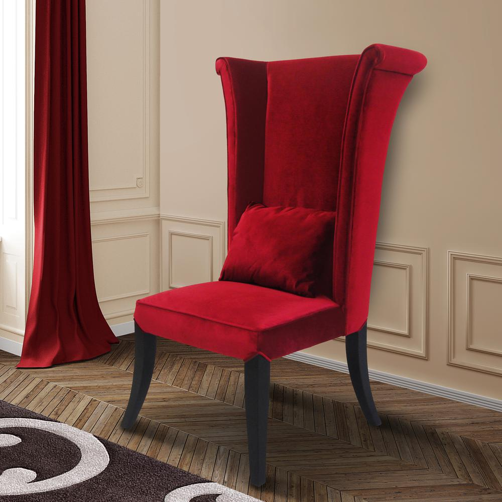 Hatter Dining Chair In Red Rich Velvet. Picture 2