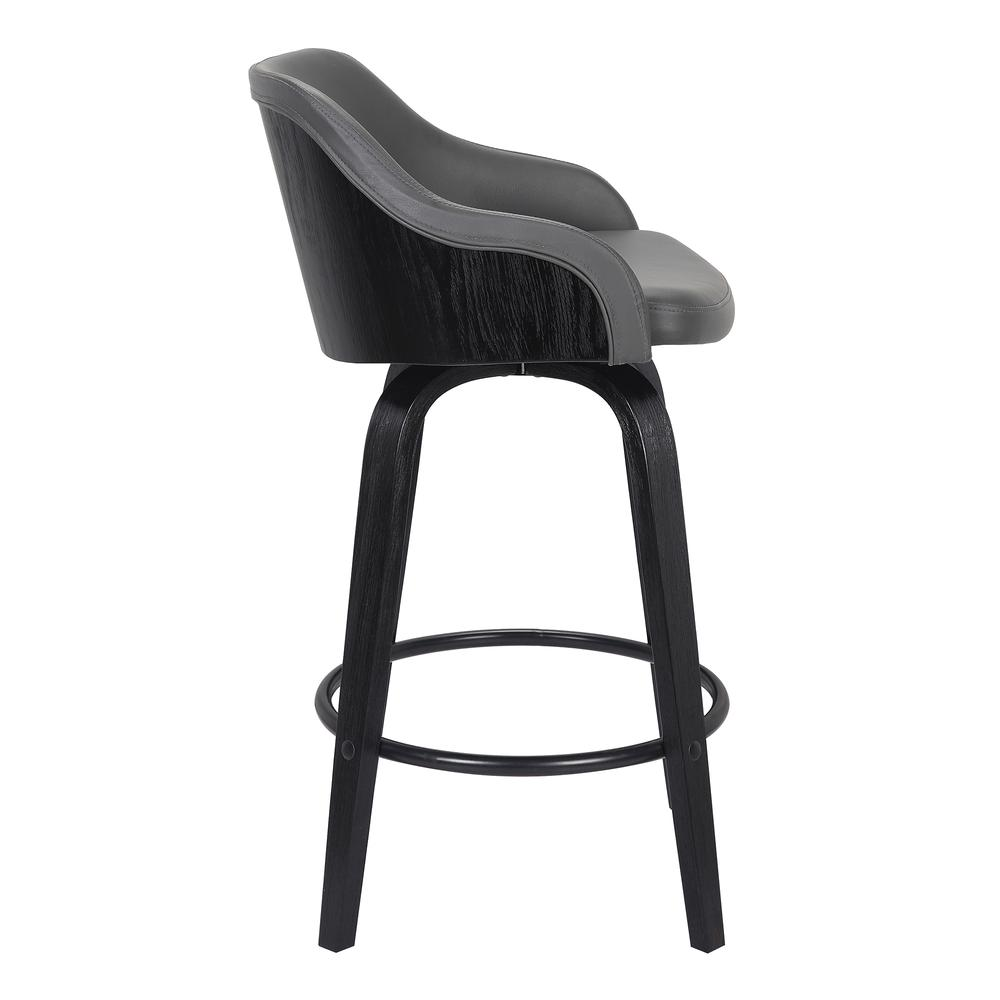 "Contemporary 26"" Counter Height Swivel Barstool - Black Brush Wood Finish and Grey Faux Leather. Picture 3"