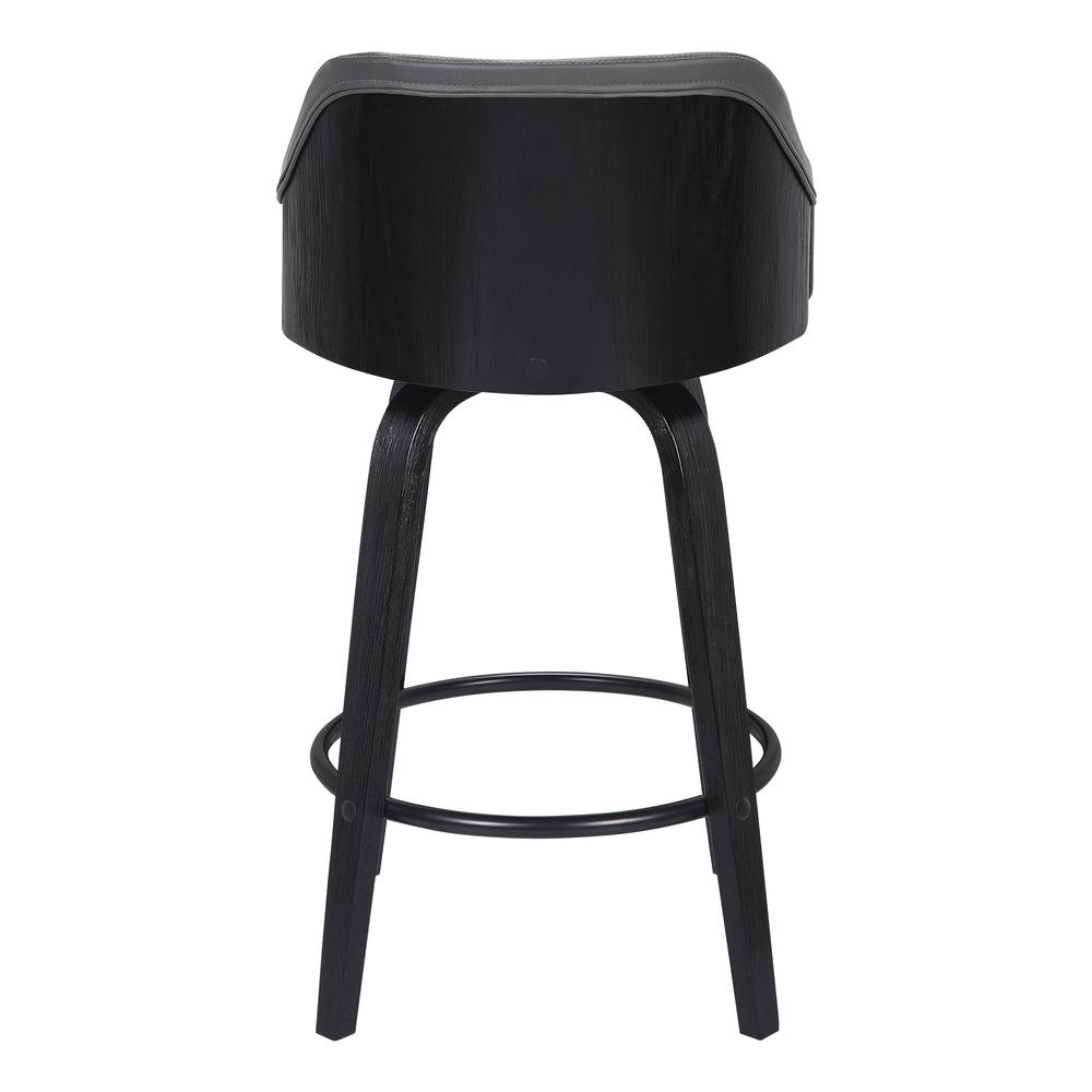 "Contemporary 26"" Counter Height Swivel Barstool - Black Brush Wood Finish and Grey Faux Leather. Picture 4"