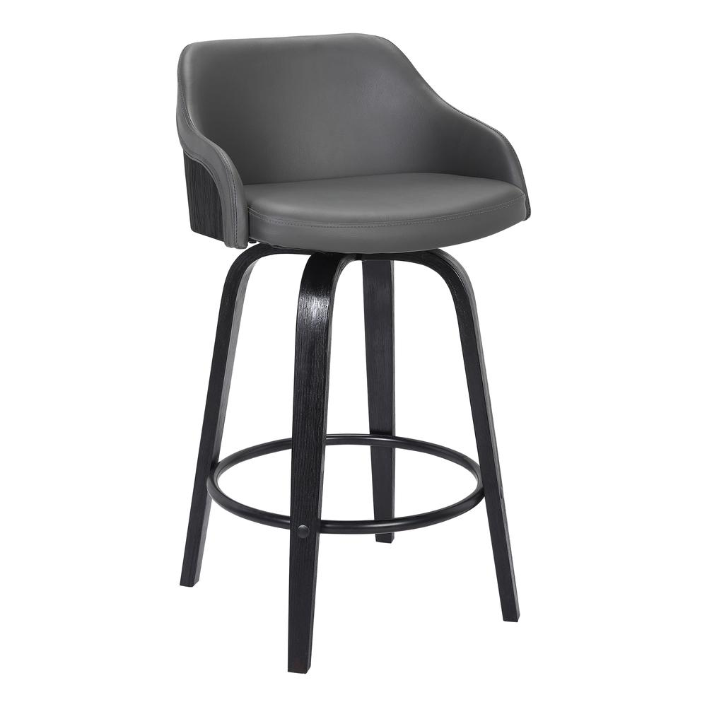 """Contemporary 30""""Bar HeightSwivel Barstool Black Brush Wood Finish and Grey Faux Leather. Picture 1"""