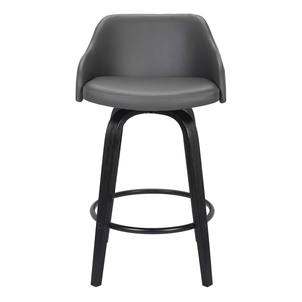 """Contemporary 30""""Bar HeightSwivel Barstool Black Brush Wood Finish and Grey Faux Leather. Picture 2"""