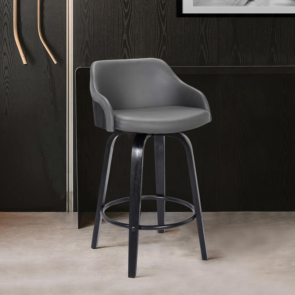 """Contemporary 30""""Bar HeightSwivel Barstool Black Brush Wood Finish and Grey Faux Leather. Picture 6"""