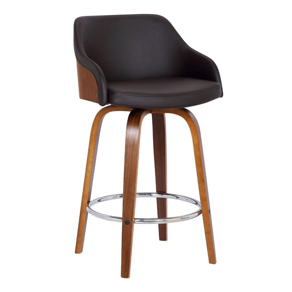"""Contemporary 30""""Bar HeightSwivel Barstool in Walnut Wood Finish and Brown Faux Leather. Picture 1"""