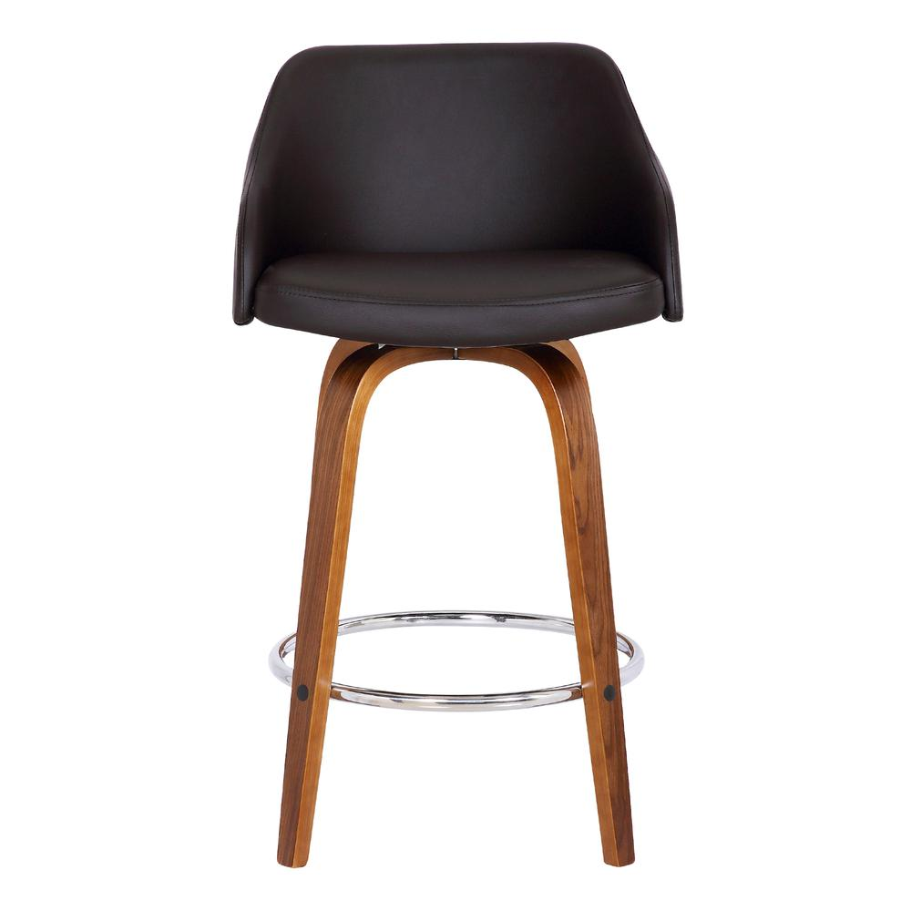 """Contemporary 30""""Bar HeightSwivel Barstool in Walnut Wood Finish and Brown Faux Leather. Picture 2"""