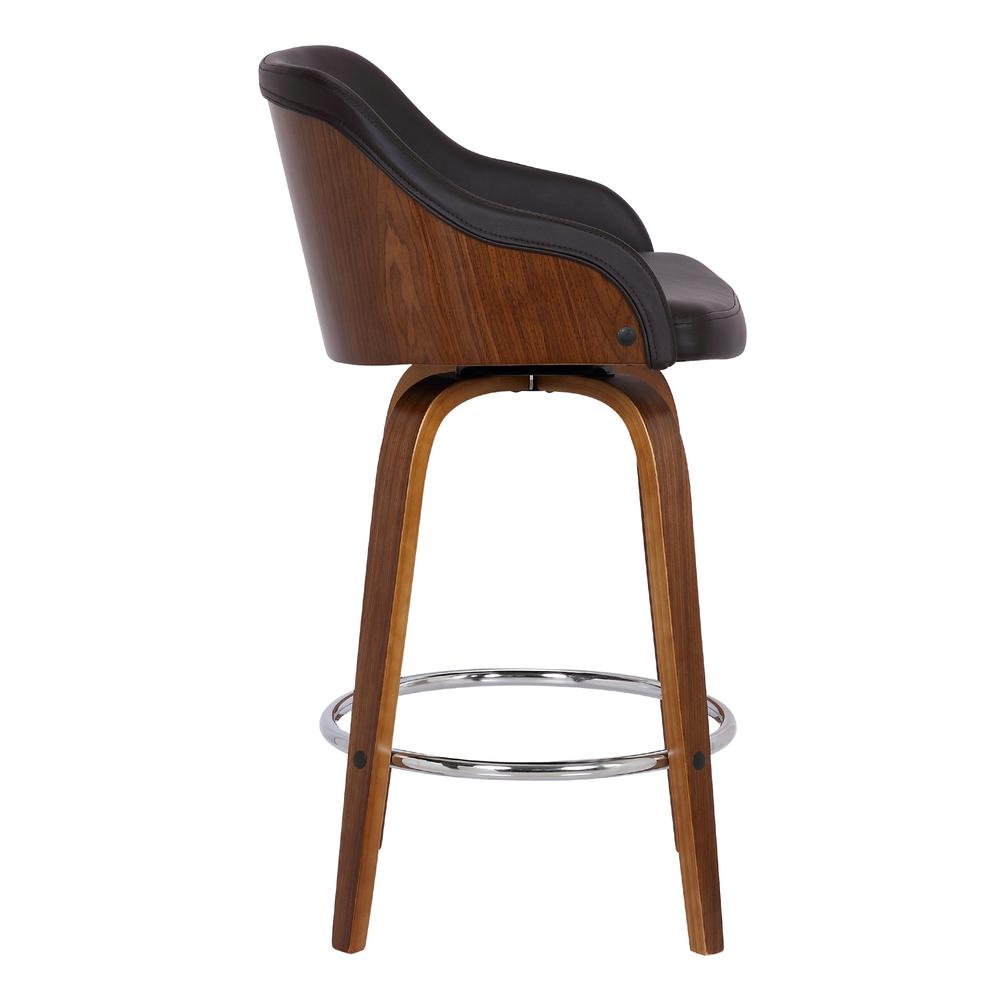 """Contemporary 30""""Bar HeightSwivel Barstool in Walnut Wood Finish and Brown Faux Leather. Picture 3"""