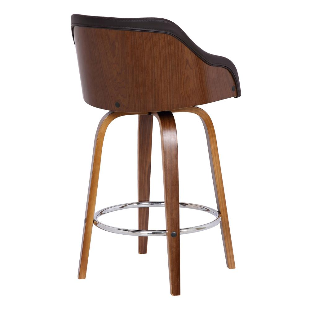"""Contemporary 30""""Bar HeightSwivel Barstool in Walnut Wood Finish and Brown Faux Leather. Picture 4"""
