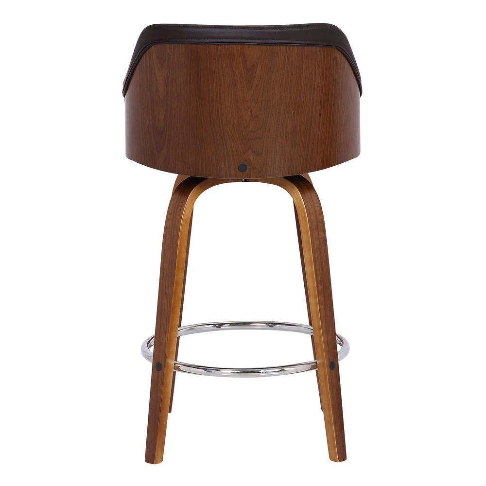 """Contemporary 30""""Bar HeightSwivel Barstool in Walnut Wood Finish and Brown Faux Leather. Picture 5"""