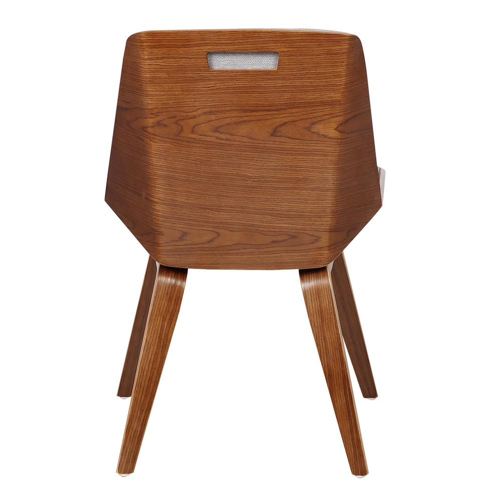 Agi Mid Century Dining Chair In Walnut Wood And Gray Fabric