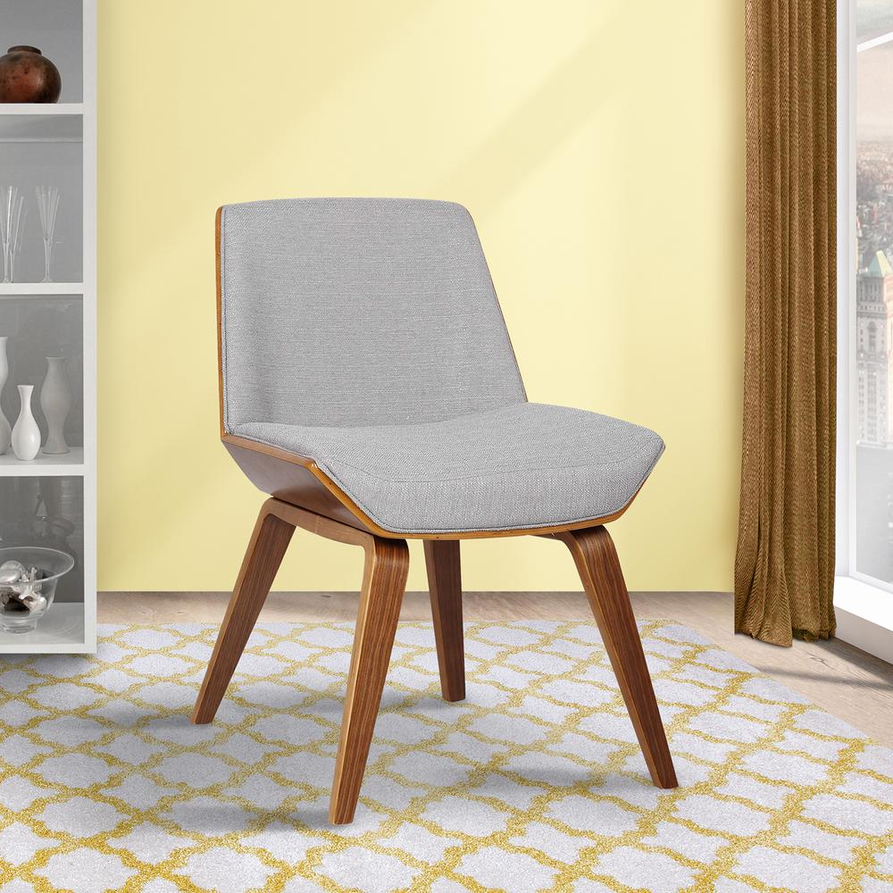 Agi Mid-Century Dining Chair In Walnut Wood And Gray Fabric
