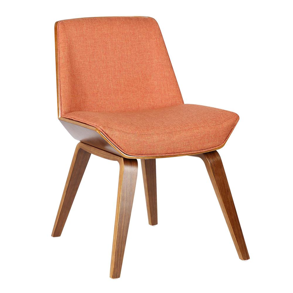 Armen Living Agi Mid-Century Dining Chair in Walnut Wood and Orange Fabric. Picture 1