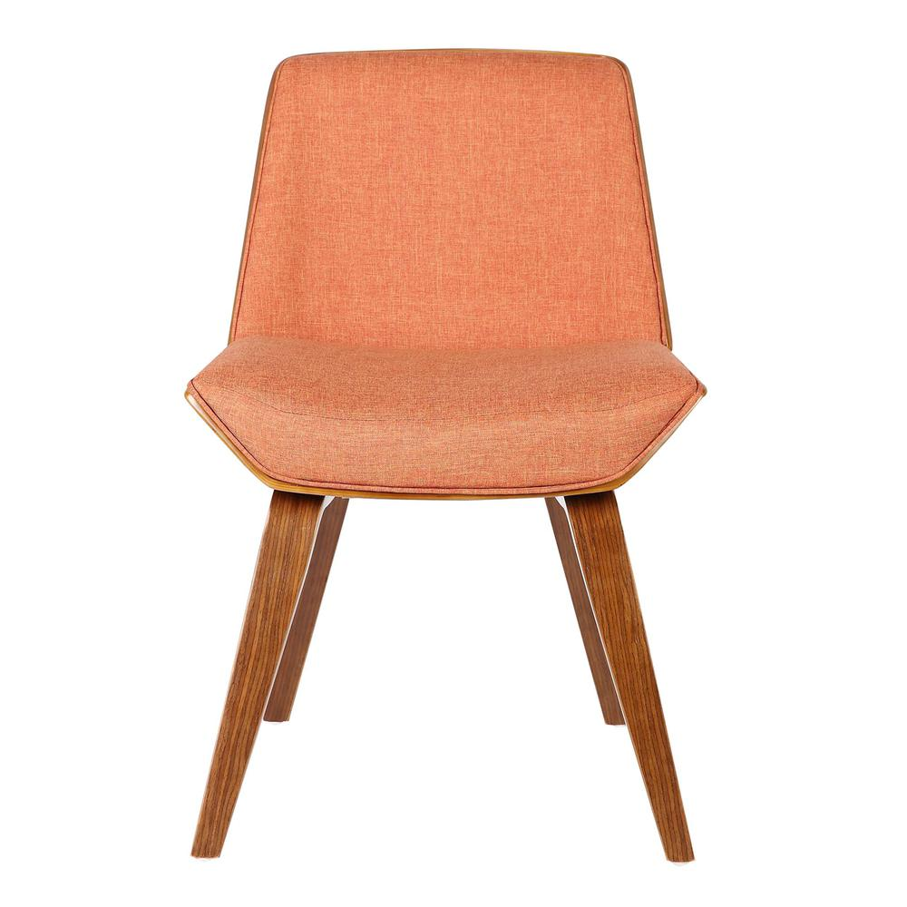 Armen Living Agi Mid-Century Dining Chair in Walnut Wood and Orange Fabric. Picture 2