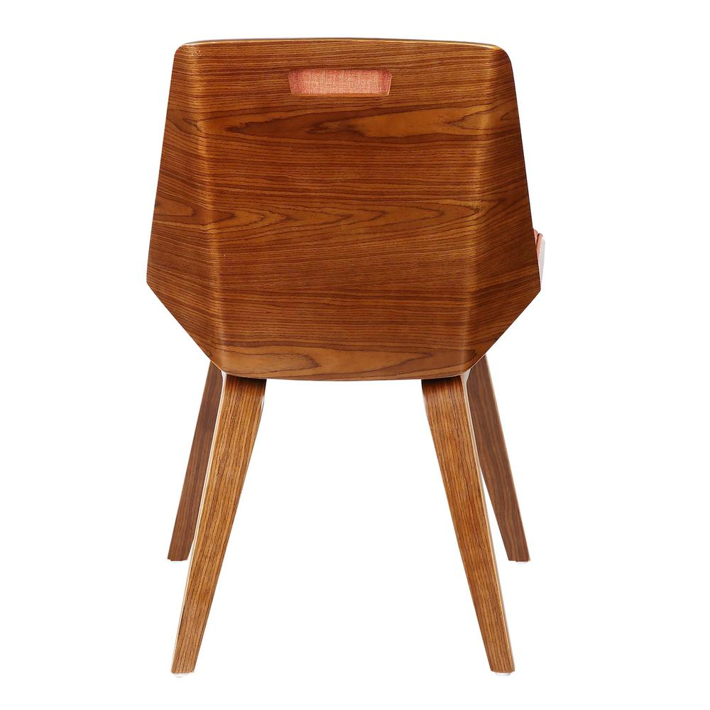 Armen Living Agi Mid-Century Dining Chair in Walnut Wood and Orange Fabric. Picture 4