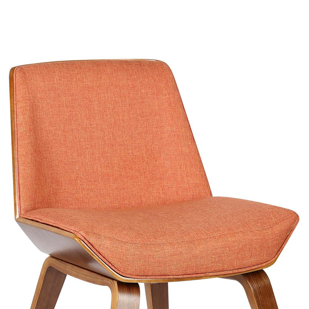 Armen Living Agi Mid-Century Dining Chair in Walnut Wood and Orange Fabric. Picture 5
