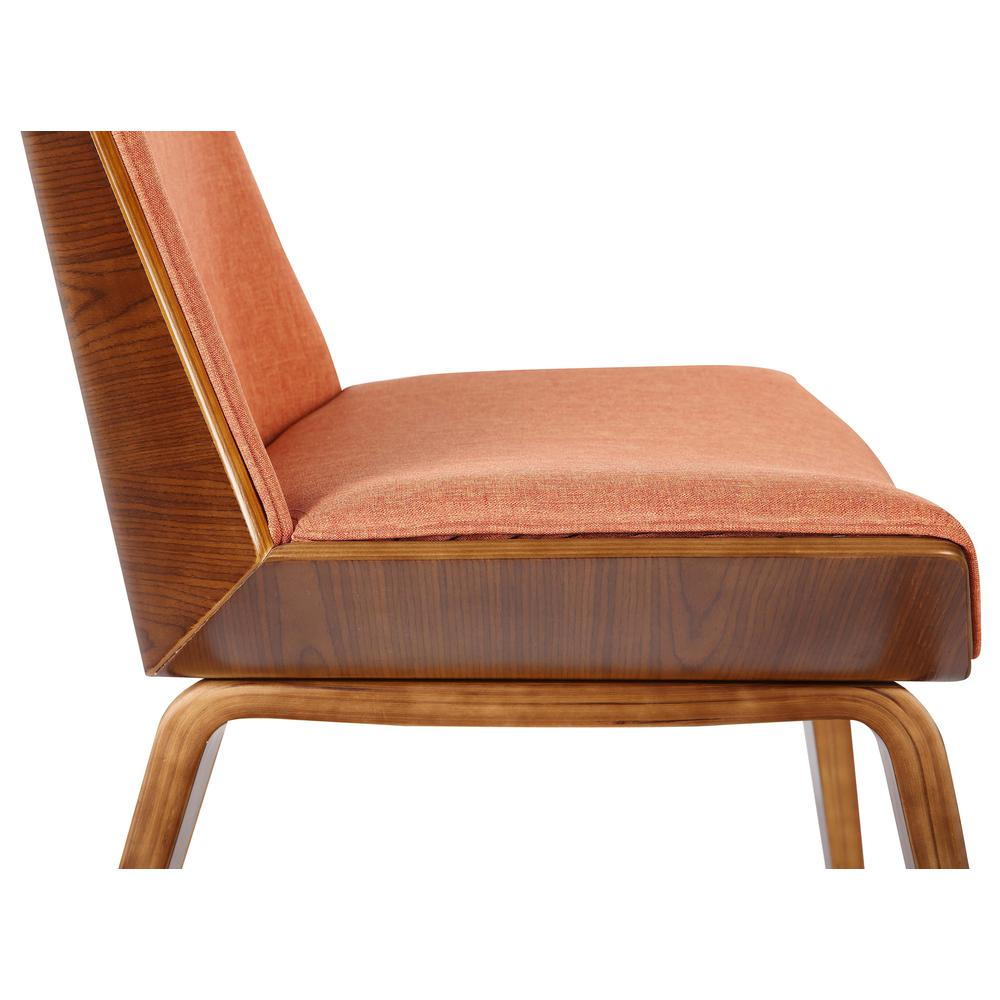 Mid-Century Dining Chair in Walnut Wood and Orange Fabric. Picture 6