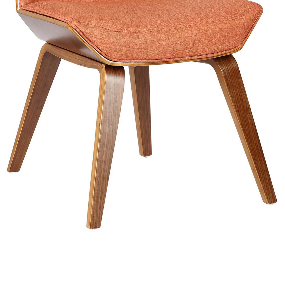 Mid-Century Dining Chair in Walnut Wood and Orange Fabric. Picture 7