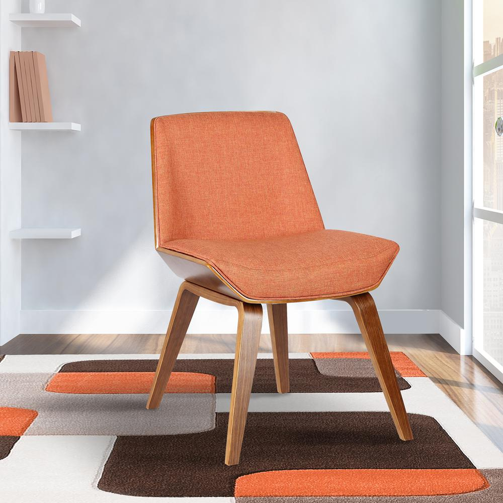 Mid-Century Dining Chair in Walnut Wood and Orange Fabric. Picture 8