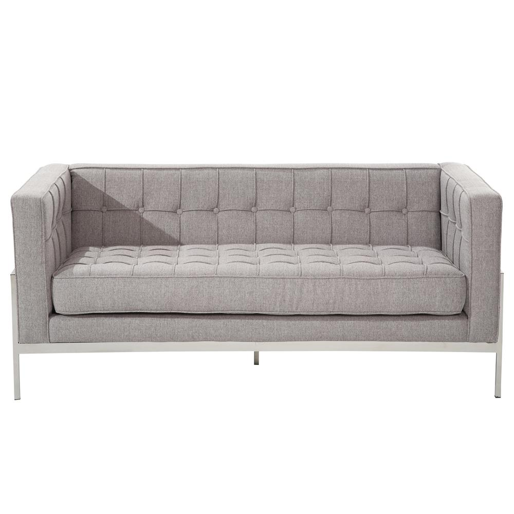 Armen Living Andre Contemporary Loveseat In Gray Tweed and Stainless Steel. Picture 2