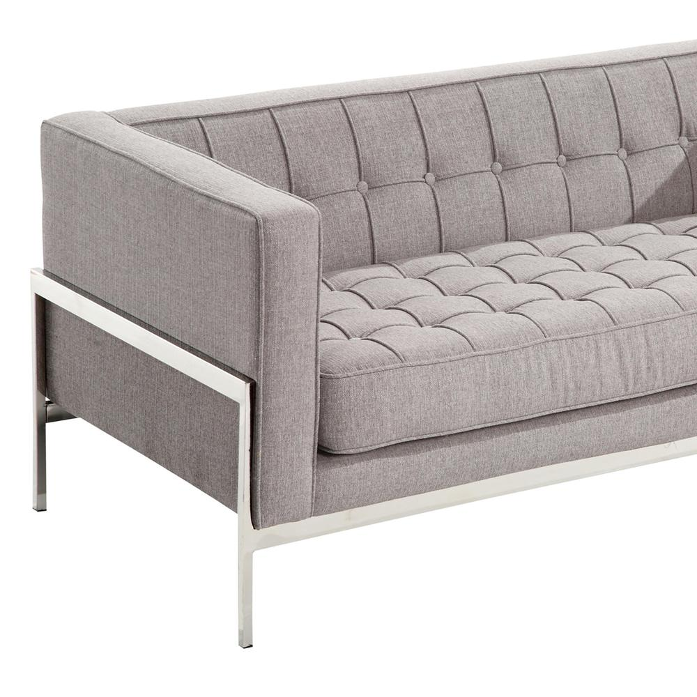 Armen Living Andre Contemporary Loveseat In Gray Tweed and Stainless Steel. Picture 4