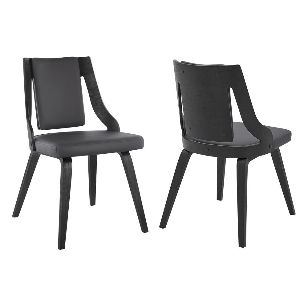 Aniston Gray Faux Leather and Black Wood Dining Chairs - Set of 2. Picture 1