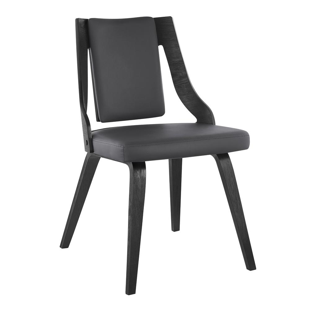 Aniston Gray Faux Leather and Black Wood Dining Chairs - Set of 2. Picture 2