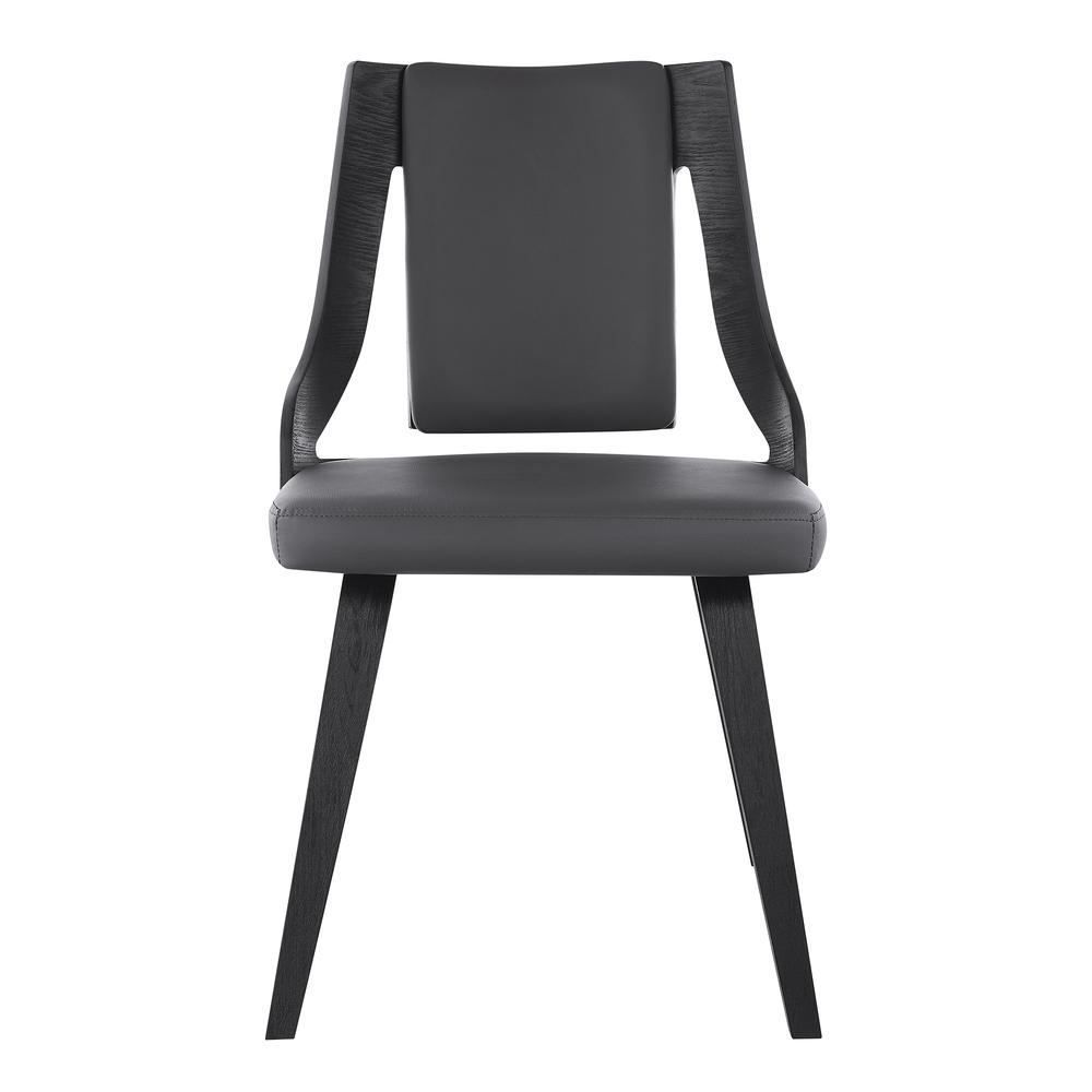Aniston Gray Faux Leather and Black Wood Dining Chairs - Set of 2. Picture 3