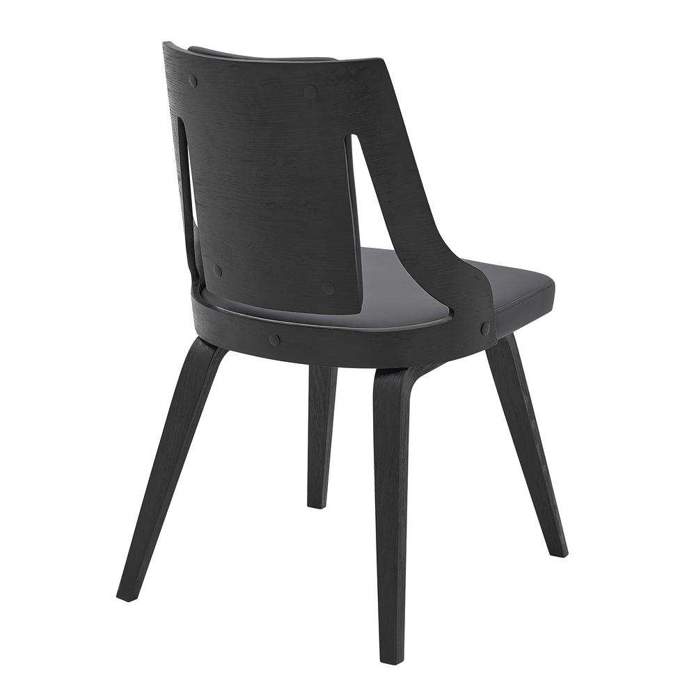 Aniston Gray Faux Leather and Black Wood Dining Chairs - Set of 2. Picture 4