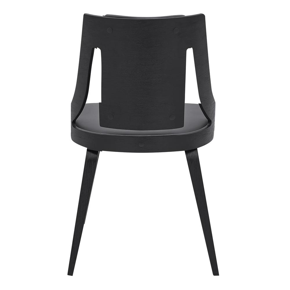 Aniston Gray Faux Leather and Black Wood Dining Chairs - Set of 2. Picture 5