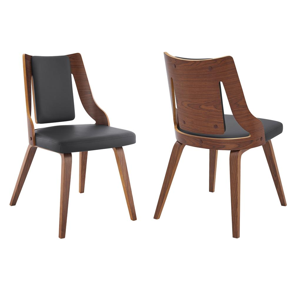 Aniston Gray Faux Leather and Walnut Wood Dining Chairs - Set of 2. Picture 1