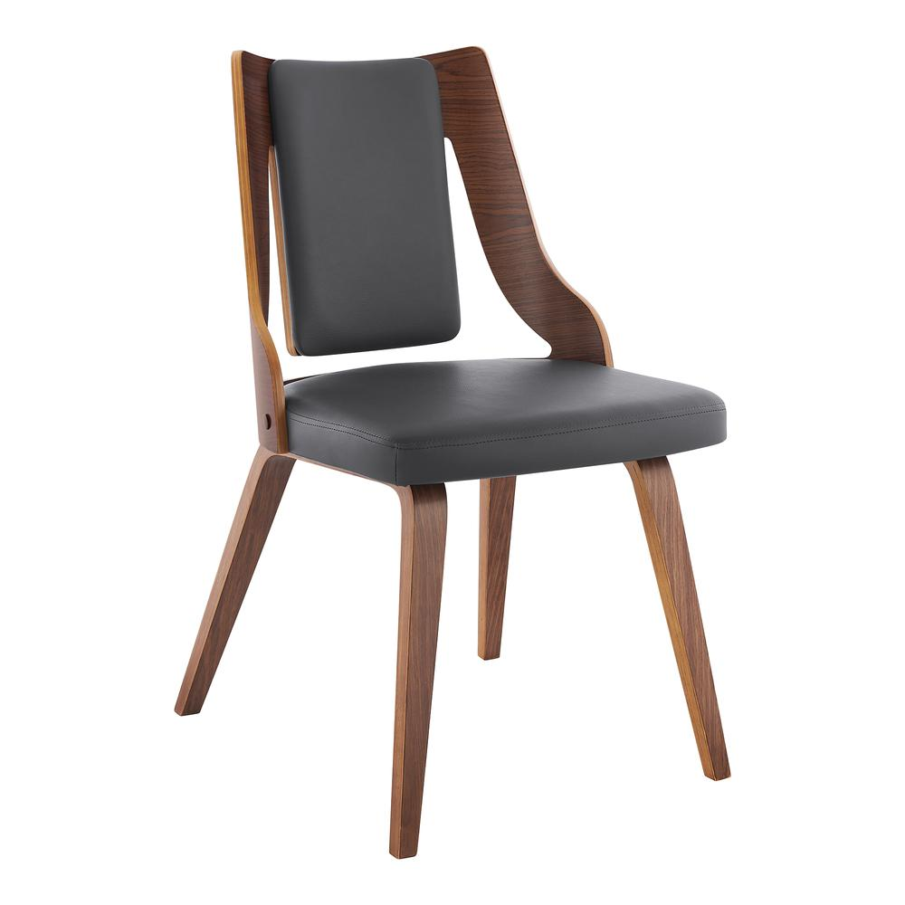 Aniston Gray Faux Leather and Walnut Wood Dining Chairs - Set of 2. Picture 2