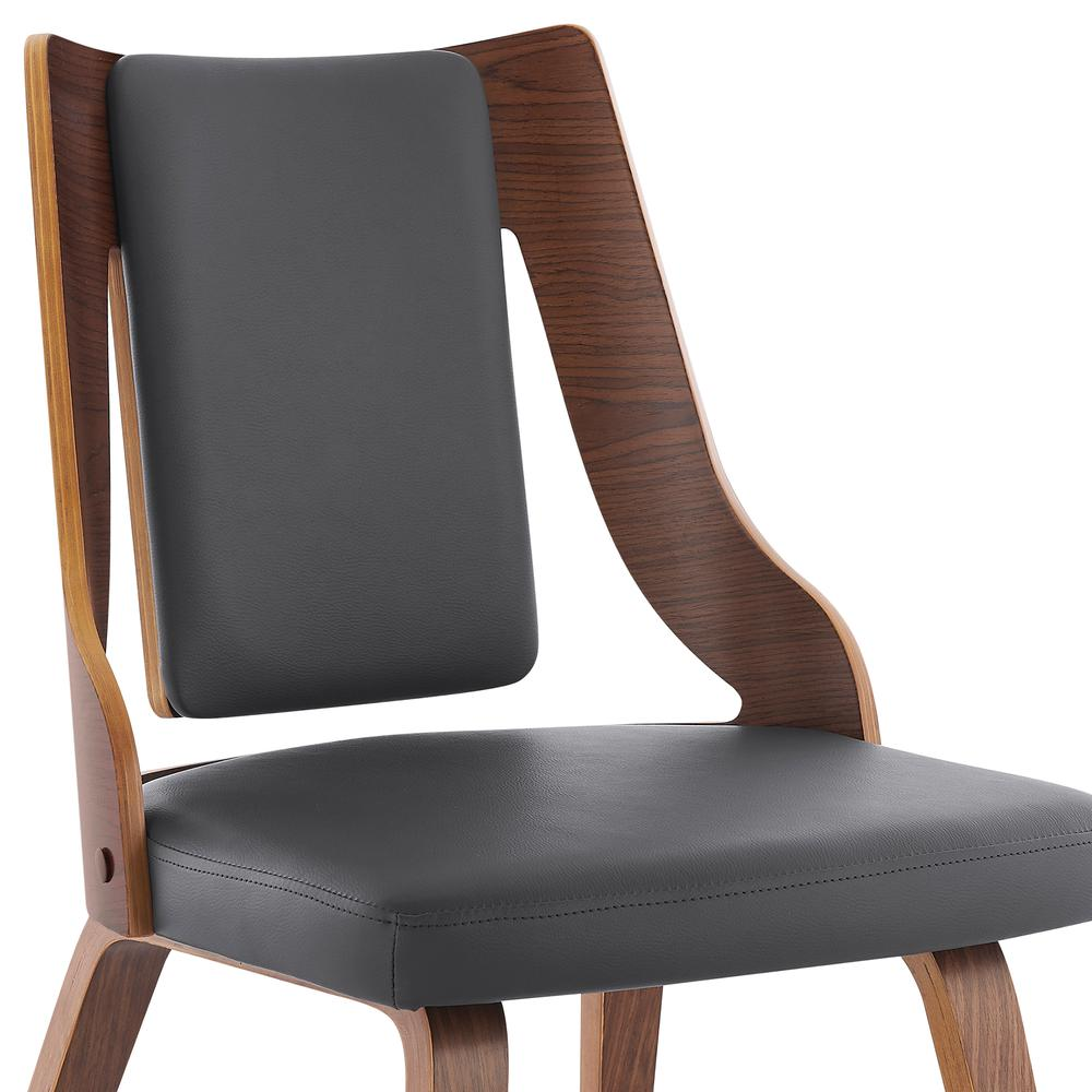 Aniston Gray Faux Leather and Walnut Wood Dining Chairs - Set of 2. Picture 5