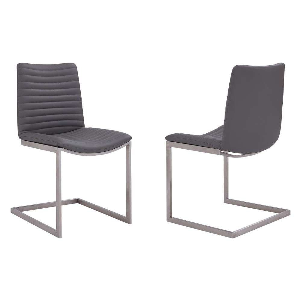 Contemporary Dining Chair in Brushed Stainless Steel Finish and Grey Faux Leather - Set of 2. Picture 1