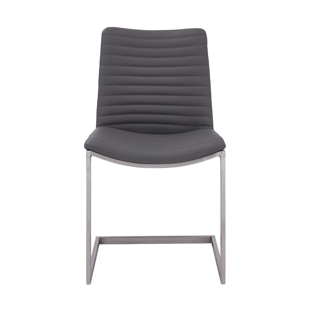 Contemporary Dining Chair in Brushed Stainless Steel Finish and Grey Faux Leather - Set of 2. Picture 2