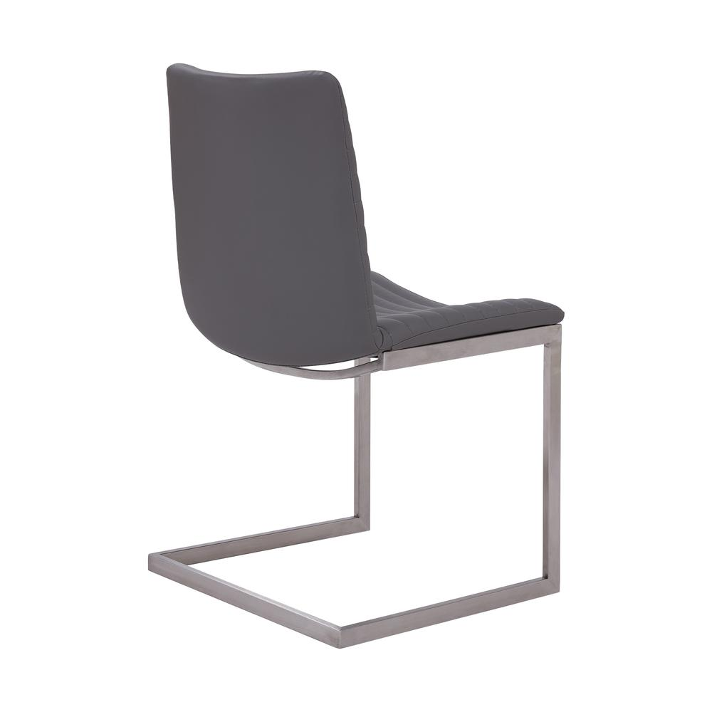 Contemporary Dining Chair in Brushed Stainless Steel Finish and Grey Faux Leather - Set of 2. Picture 3