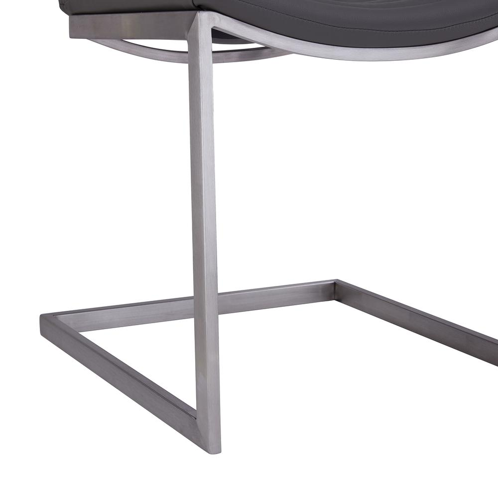 Contemporary Dining Chair in Brushed Stainless Steel Finish and Grey Faux Leather - Set of 2. Picture 6