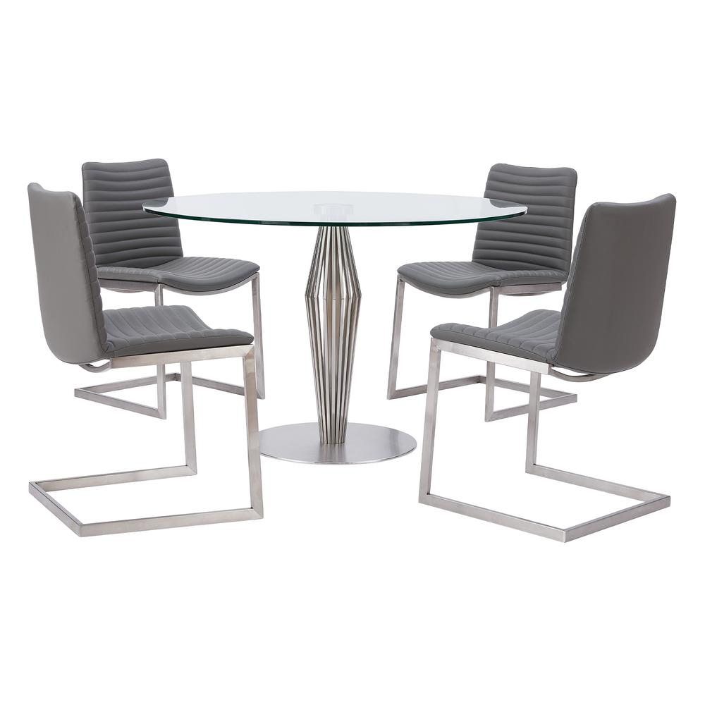 Contemporary Dining Chair in Brushed Stainless Steel Finish and Grey Faux Leather - Set of 2. Picture 7