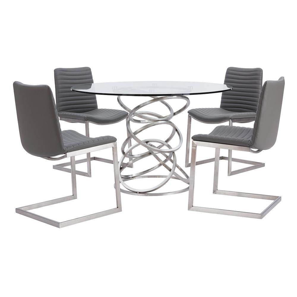 Contemporary Dining Chair in Brushed Stainless Steel Finish and Grey Faux Leather - Set of 2. Picture 8