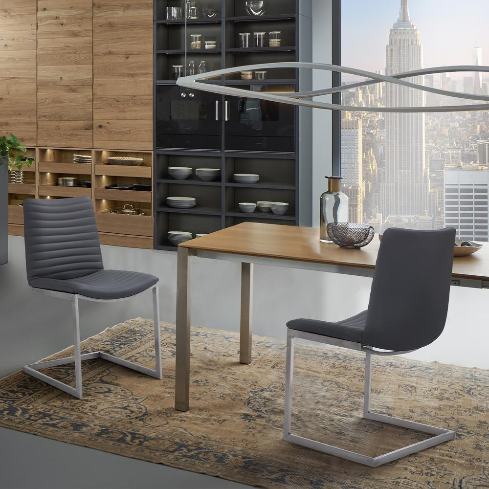 Contemporary Dining Chair in Brushed Stainless Steel Finish and Grey Faux Leather - Set of 2. Picture 9