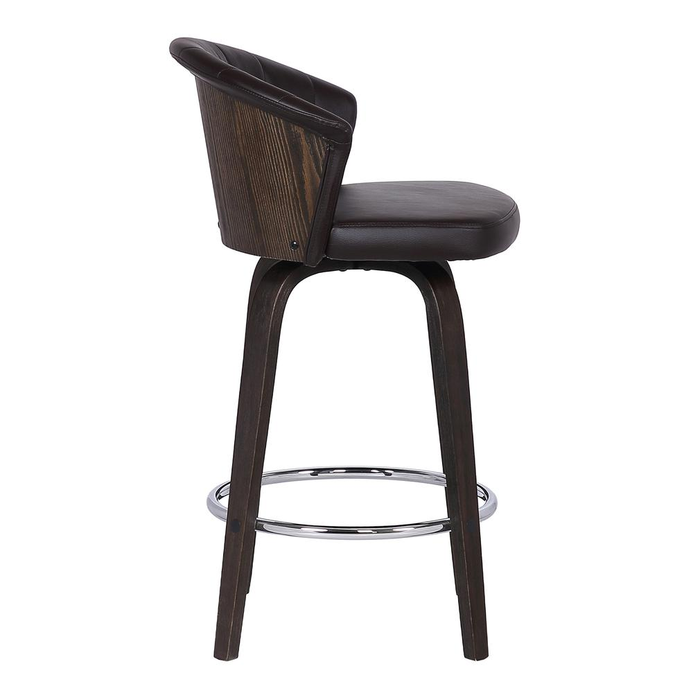 "Back 30"" Swivel Brown Faux Leather Bar Stool. Picture 3"